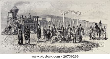 Old illustration of train stop in the prairie along Union Pacific Railroad at Hundredth meridian. Original, from drawing of Janet-Lange, published on L'Illustration, Journal Universel, Paris, 1968