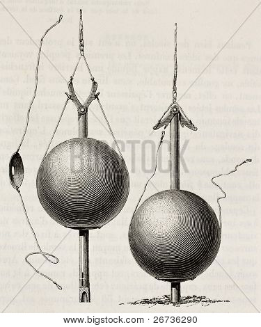 Old illustration of Brooke sounding apparatus, invented by John Mercer Brooke for sea depth measuring. From unknown author, published on L'Eau, by G. Tissandier, Hachette ed., Paris, 1873