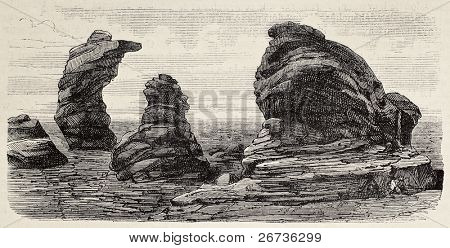 Antique illustration of granite formations in Laramie plains. Original, by unknown author, was published on L'Illustration, Jounrnal Universel, Paris, 1868