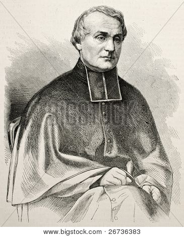 Old engraved portrait of Auguste Joseph Alphonse Gratry, French author and theologian. Original, by Chenu, was published on L'Illustration, Journal Universel, Paris, 1868
