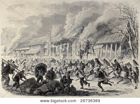 Antique illustration of fire in Prince Satsouma's palace in Yeddo (Tokyo), Japan. Created by Janet-Lange and Cosson-Smeeton, published on L'Illustration, Journal Universel, Paris, 1868