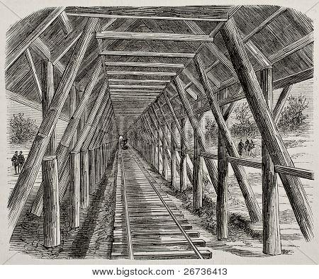 Antiga ilustração do dossel de neve de madeira ao longo da Union Pacific Railroad, Sierra Nevada, EUA. B original,