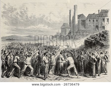 Old illustration of  workers riot at Hazard cool mine, near Charleroy, Belgium. Original, created by Dubois and Cosson-Smeeton,  was published on L'Illustration, Journal Universel, Paris, 1868