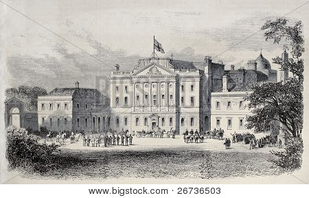 Powerscourt castle, Ireland, in occasion of Prince of Wales visit. Created by Blanchard and Cosson-Smeeton, after sketch of Tomsolin, published on L'Illustration, Journal Universel, Paris, 1868