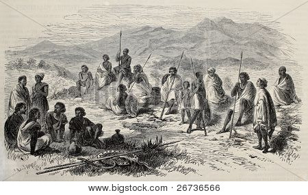 Old illustration of Abyssinian warriors in Antalo (nowadays Hintalo) surroundings.  Original, created by Loudon, was published L'Illustration, Journal Universel, Paris, 1868