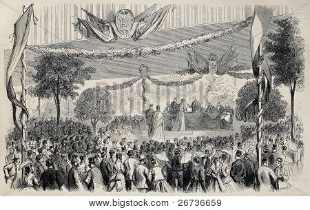Old illustration of annual assembly of Dupont printing workers in Clichy, France. Created by Pauquet and Cosson-Smeeton, published on L'Illustration, Journal Universel, Paris, 1868