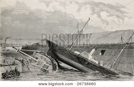 Antique illustration of two crafts accidental sinking in Boulogne port's channel. Created by Blanchard after sketch of Gravis, published on L'Illustration, Journal Universel, Paris, 1868