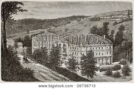 Antique illustration of Thermes Napoleon in Plombieres, France. Original, from unknown author, was published on L'Eau, by G. Tissandier, Hachette, Paris, 1873