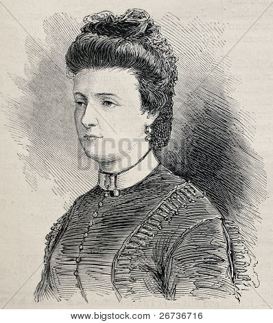 Old engraved portrait of Julie Obrenovich, widow of Prince Mihailo Obrenovich. Created by Janet-Lange after photo of  Disderi, publ. on L'Illustration, Journal Universel, Paris, 1868
