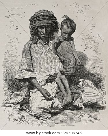 Antique illustration of undernourished mother and son in Algeria. Created by Janet-Lange and Dutheil after photo of Sarrault, published on L'Illustration, Journal Universel, Paris, 1868