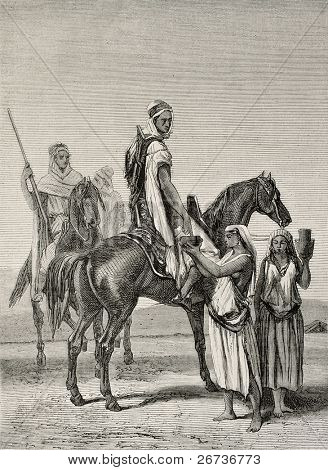 Antique illustration shows arab women offering milk to horsemen. By Duvaux and Cosson-Smeeton on tablet of Ginain, published on L'Illustration, Journal Universel, Paris, 1868