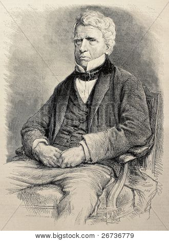Old engraved portrait of Lord Brougham, Lord Chancellor of the United Kingdom. Original, created by Janet-Lange and Cosson-Smeeton, was published on L'Illustration, Journal Universel, Paris, 1868