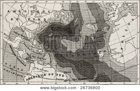 Old map of Atlantic Ocean depth. Created by Dumas-Vorzet, after Maury and Stieler, engraved by Erhard. Published on L'Eau, by G. Tissandier, Hachette, Paris, 1873