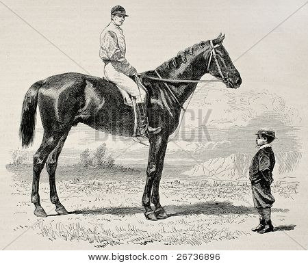 Old illustration of Suzerain, winner of  the Prix du Jockey Club (Derby) in 1868. Created by Janet-Lange and Dutheil, published on L'Illustration, Journal Universel, Paris, 1868