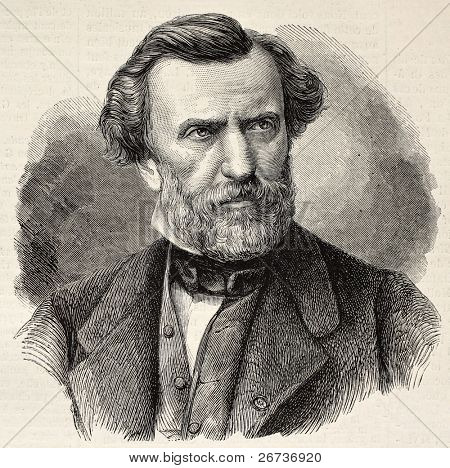 Old engraved portrait of Ambroise Thomas, French composer and Director of the Conservatoire de Paris. Created by Chenu and Robert, published on L'Illustration, Journal Universel, Paris, 1868