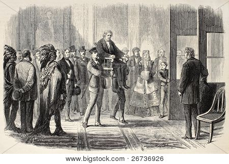 Old illustration of Thaddeus Stevens helped to enter U.S. House of Representatives. Created by Janet-Lange and Cosson-Smeeton, published on L'Illustration, Journal Universel, Paris, 1868