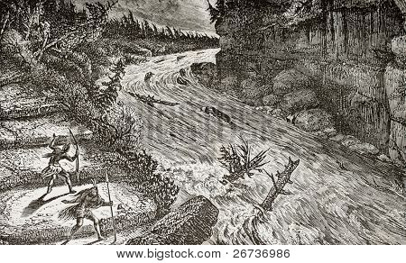 Old illustration of Montmorency rivers rapids, Canada. Original, by unknown author, was published on L'Eau, by G. Tissandier, Hachette, Paris, 1873