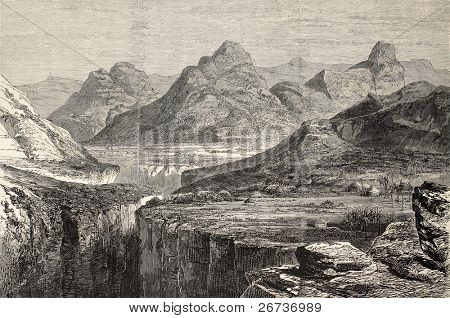 Old view of Ankober, central Ethiopian locality. Created by Loudon, published on L'Illustration, Journal Universel, Paris, 1868