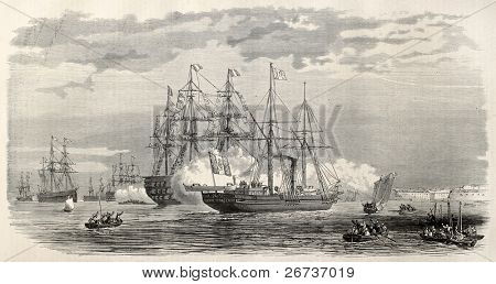 Imperial yacht Reine Hortense anchorage in Brest, during  Prince Imperial Louis  Eugene Napoleon Bonaparte journey. Created by Blanchard, published on L'Illustration, Journal Universel, Paris, 1868