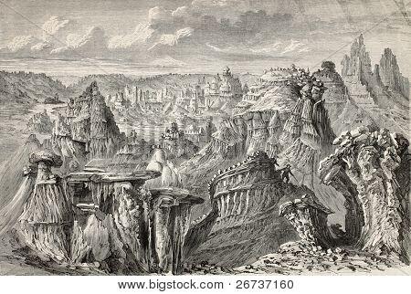 Antiga ilustração de badlands americanos. Criado por Lancelot e Nicolay, após o esboço de Girardin,
