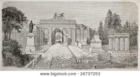 Antiga ilustração do portão de Herculano, visto da Via dei Sepolcri, Pompeia, Itália. Criado por Lancelot