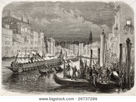 Old illustration of Daniele Manin's funeral procession along Grand Canal, Venice, Italy. Created by Blanchard and Cosson-Smeeton, published on L'Illustration, Journal Universel, Paris, 1868
