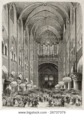 Old illustration of new organ inauguration in Notre Dame de Paris, France. Created by Provost and Cosson-Smeeton, published on L'Illustration, Journal Universel, Paris, 1868