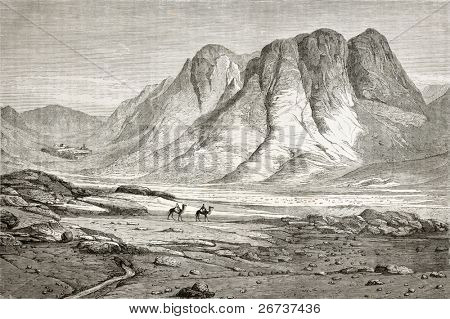 Old illustration of Saint Catherine's Monastery at the foot of Mount Sinai, Egypt. Created by Pottin and Bida, published on Le Tour du Monde, Paris, 1864