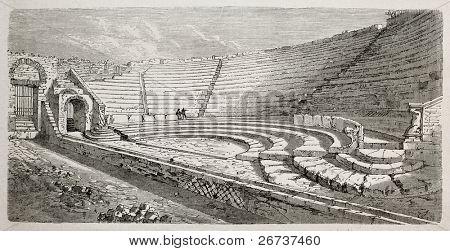 Antiga ilustração do pequeno teatro de Pompeia, sul da Itália. Criado por Lancelot e Eloi, publicado