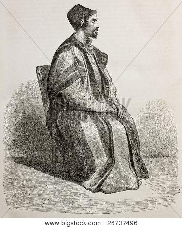 Old engraved portrait of  Procopius, Father Treasurer in Saint Catherine's Monastery, Egypt. Created by Pottin, published on Le Tour du Monde, Paris, 1864