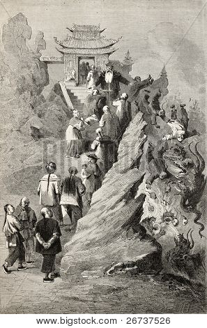 Old illustration of the way toward sky. Created by Bayard, after sketch of Treves on allegoric drawing in a  Tianjin  pagoda. Published on Le Tour du Monde, Paris, 1864.