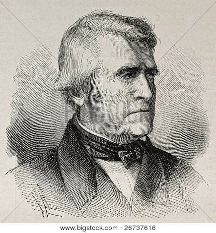 Old engraved portrait of Claude Pouillet, French physicist.  Original, created by Perot, was published on L'Illustration, Journal Universel, Paris, 1868