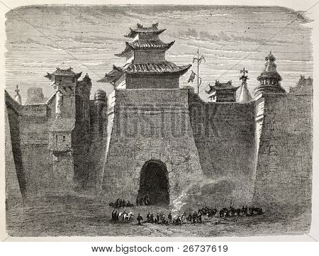 Ilustração antiga de paredes de Beijing e portão. Criado por Lancelot, publicado em Le Tour du Monde, Pari