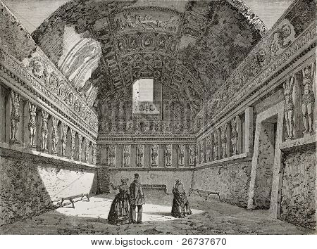 Old illustration of tepidarium in Pompeii thermae. Created by Clerget and Degreef, published on Le Tour du Monde, Paris, 1864