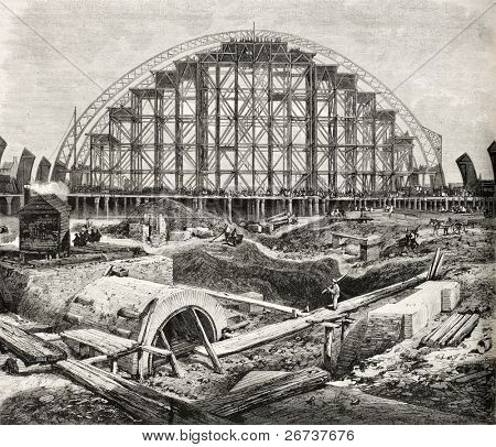Old illustration of Midland railway station (St. Pancras) construction in London. Created by Loudon, published on L'Illustration, Journal Universel, Paris, 1868