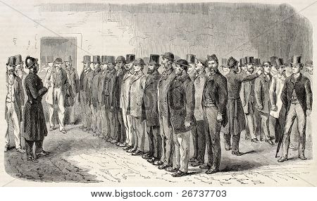 Recruitment and instructing constables to fight Fenianism. Created by Webb and Cosson-Smeeton, published on L'Illustration, Journal Universel, Paris, 1868