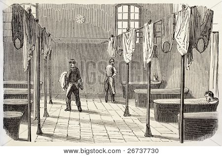 Old illustration of hydrotherapy in Sainte Anne asylum, Paris. Created by Gaildrau, published on L'Illustration, Journal Universel, Paris, 1868