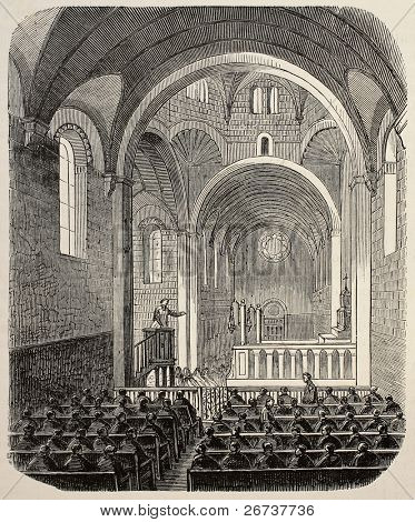 Old illustration of Sainte Anne asylum chapel, Paris. Created by Gaildrau, published on L'Illustration, Journal Universel, Paris, 1868