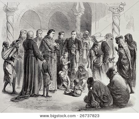 Algeria famine: Algiers' Archbishop gives hospitality to orphans in Episcopal palace. Created by Janet-Lange and Cosson-Smeeton, was published on L'Illustration, Journal Universel, Paris, 1868