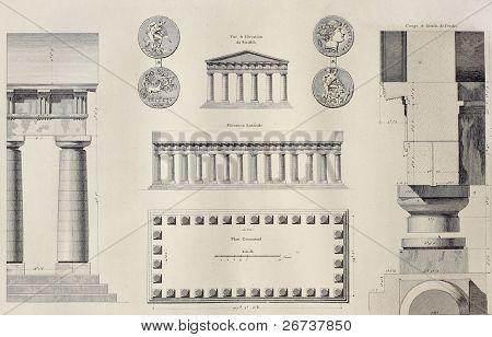 Geometric plan of Temple of Segesta, western Sicily. By Renard and Berthault, published on Voyage Pittoresque de Naples et de Sicilie, by J. C. R. de Saint Non, Impr. de Clousier, Paris, 1786