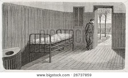 Antique illustration of a confinement room at psychiatric hospital Saint Anne, Paris. Created by Gaildrau, published on L'Illustration, Journal Universel, Paris, 1868