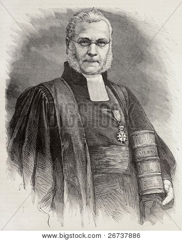 Old engraved portrait of Athanase Laurent Charles Coquerel, French protestant theologian. Created by Chenu, after photo of Nadar, was published on L'Illustration, Journal Universel, Paris, 1868