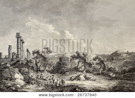 Old view of Valley of the Temples, Sicily. Created by Chatelet and Allix, published on Voyage Pittoresque de Naples et de Sicilie, by J. C. R. de Saint Non, Imprimerie de Clousier, Paris, 1786