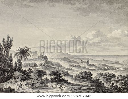 Old view of Valley of the Temples, Agrigento, Sicily. Created by Chatelet and De Ghendt, publ. on Voyage Pittoresque de Naples et de Sicilie, by J. C. R. de Saint Non, Impr. de Clousier, Paris, 1786