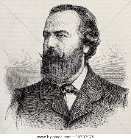 Old engraved portrait of Monsieur Steller, actor and opera singer. Original, created by Chenu, was published on L'Illustration, Journal Universel, Paris, 1868