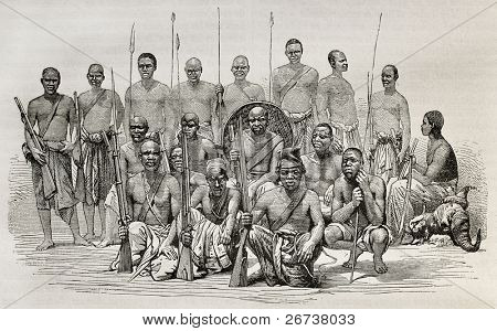 Old illustration of captains Speke and Grant escort during African exploration. Created by unidentified author after photo of Royer, published on Le Tour du Monde, Paris, 1864