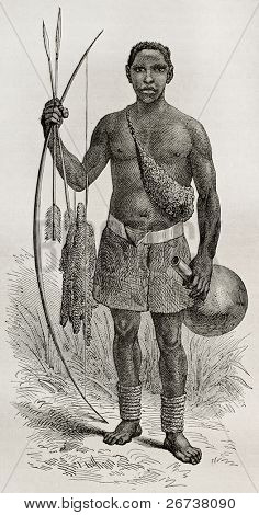 Old illustration of native of the Ouzinza region, Uganda. Created by Bayrad, published on Le Tour du Monde, Paris, 1864