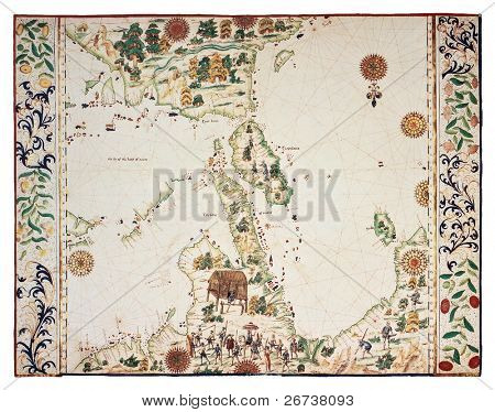 Old map based on South-Eastern Asia Portolano, by Jean Roth, Dieppe, Haute Normandie, ca. 1540.