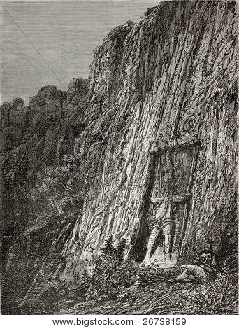 Old illustration of Luviari warrior bas relief at pass of Karabel, Turkey. Created by Gaiaud, published on Le Tour du Monde, Paris, 1864