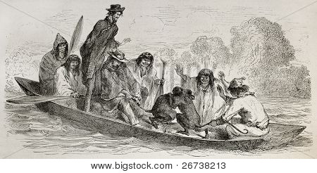 Old illustration of Spider monkeys fighting on a canoe. Created by Riou, published on Le Tour du Monde, Paris, 1864